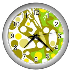 Green and yellow decor Wall Clocks (Silver)