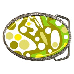 Green and yellow decor Belt Buckles