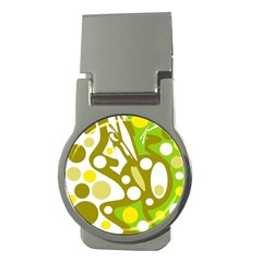 Green and yellow decor Money Clips (Round)