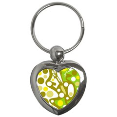 Green and yellow decor Key Chains (Heart)