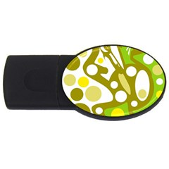 Green and yellow decor USB Flash Drive Oval (1 GB)