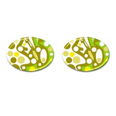 Green and yellow decor Cufflinks (Oval)