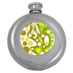 Green and yellow decor Round Hip Flask (5 oz)