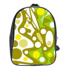 Green and yellow decor School Bags(Large)