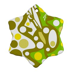 Green and yellow decor Snowflake Ornament (2-Side)