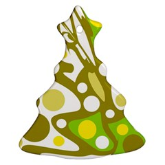 Green and yellow decor Christmas Tree Ornament (2 Sides)