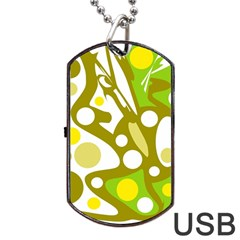 Green and yellow decor Dog Tag USB Flash (One Side)