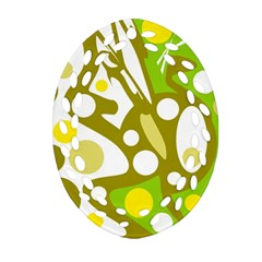 Green and yellow decor Oval Filigree Ornament (2-Side)