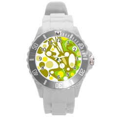 Green and yellow decor Round Plastic Sport Watch (L)