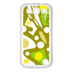 Green and yellow decor Samsung Galaxy S3 Back Case (White)