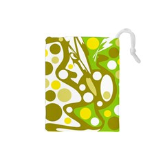 Green and yellow decor Drawstring Pouches (Small)