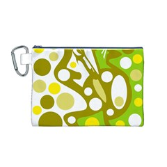 Green and yellow decor Canvas Cosmetic Bag (M)