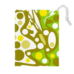 Green and yellow decor Drawstring Pouches (Extra Large)