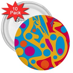 Colorful decor 3  Buttons (10 pack)