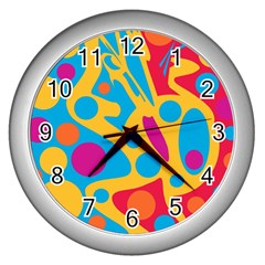 Colorful decor Wall Clocks (Silver)