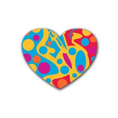 Colorful decor Rubber Coaster (Heart)