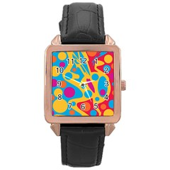 Colorful decor Rose Gold Leather Watch