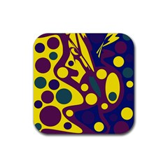 Deep blue and yellow decor Rubber Coaster (Square)