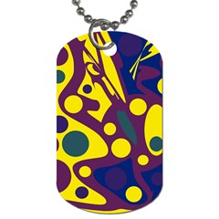 Deep blue and yellow decor Dog Tag (One Side)