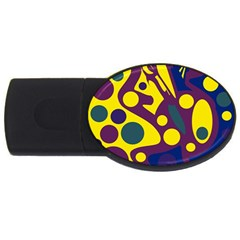 Deep blue and yellow decor USB Flash Drive Oval (2 GB)