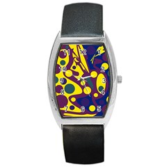 Deep blue and yellow decor Barrel Style Metal Watch