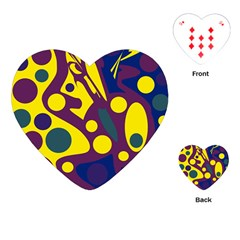 Deep blue and yellow decor Playing Cards (Heart)
