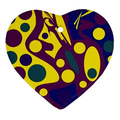 Deep blue and yellow decor Heart Ornament (2 Sides)