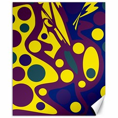Deep blue and yellow decor Canvas 16  x 20