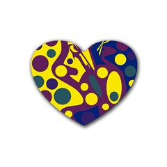 Deep blue and yellow decor Heart Coaster (4 pack)