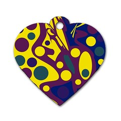 Deep blue and yellow decor Dog Tag Heart (One Side)