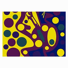 Deep blue and yellow decor Large Glasses Cloth (2-Side)