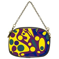 Deep blue and yellow decor Chain Purses (One Side)