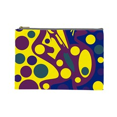 Deep blue and yellow decor Cosmetic Bag (Large)