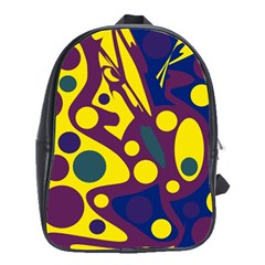 Deep blue and yellow decor School Bags(Large)