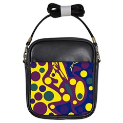 Deep blue and yellow decor Girls Sling Bags