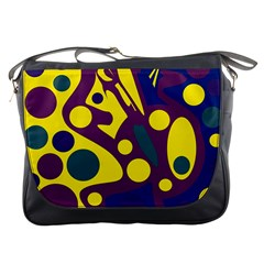 Deep blue and yellow decor Messenger Bags