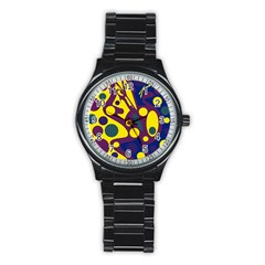 Deep blue and yellow decor Stainless Steel Round Watch