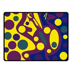 Deep blue and yellow decor Double Sided Fleece Blanket (Small)