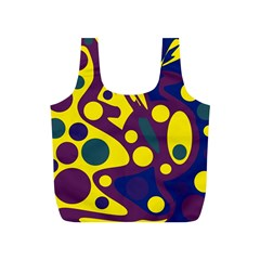 Deep blue and yellow decor Full Print Recycle Bags (S)