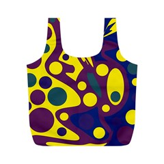 Deep blue and yellow decor Full Print Recycle Bags (M)