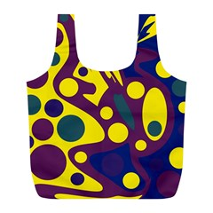 Deep blue and yellow decor Full Print Recycle Bags (L)