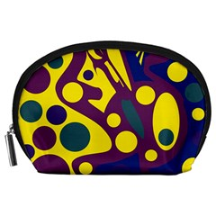 Deep blue and yellow decor Accessory Pouches (Large)
