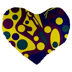 Deep blue and yellow decor Large 19  Premium Flano Heart Shape Cushions
