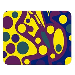 Deep blue and yellow decor Double Sided Flano Blanket (Large)