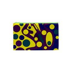 Deep blue and yellow decor Cosmetic Bag (XS)