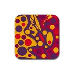 Colorful chaos Rubber Square Coaster (4 pack)