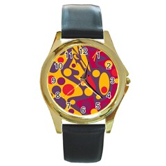 Colorful chaos Round Gold Metal Watch