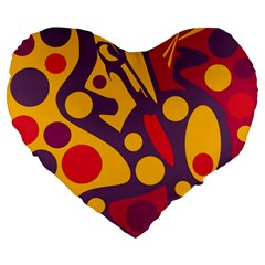 Colorful chaos Large 19  Premium Flano Heart Shape Cushions