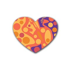 Orange and blue decor Heart Coaster (4 pack)