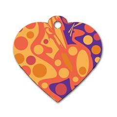 Orange and blue decor Dog Tag Heart (Two Sides)
